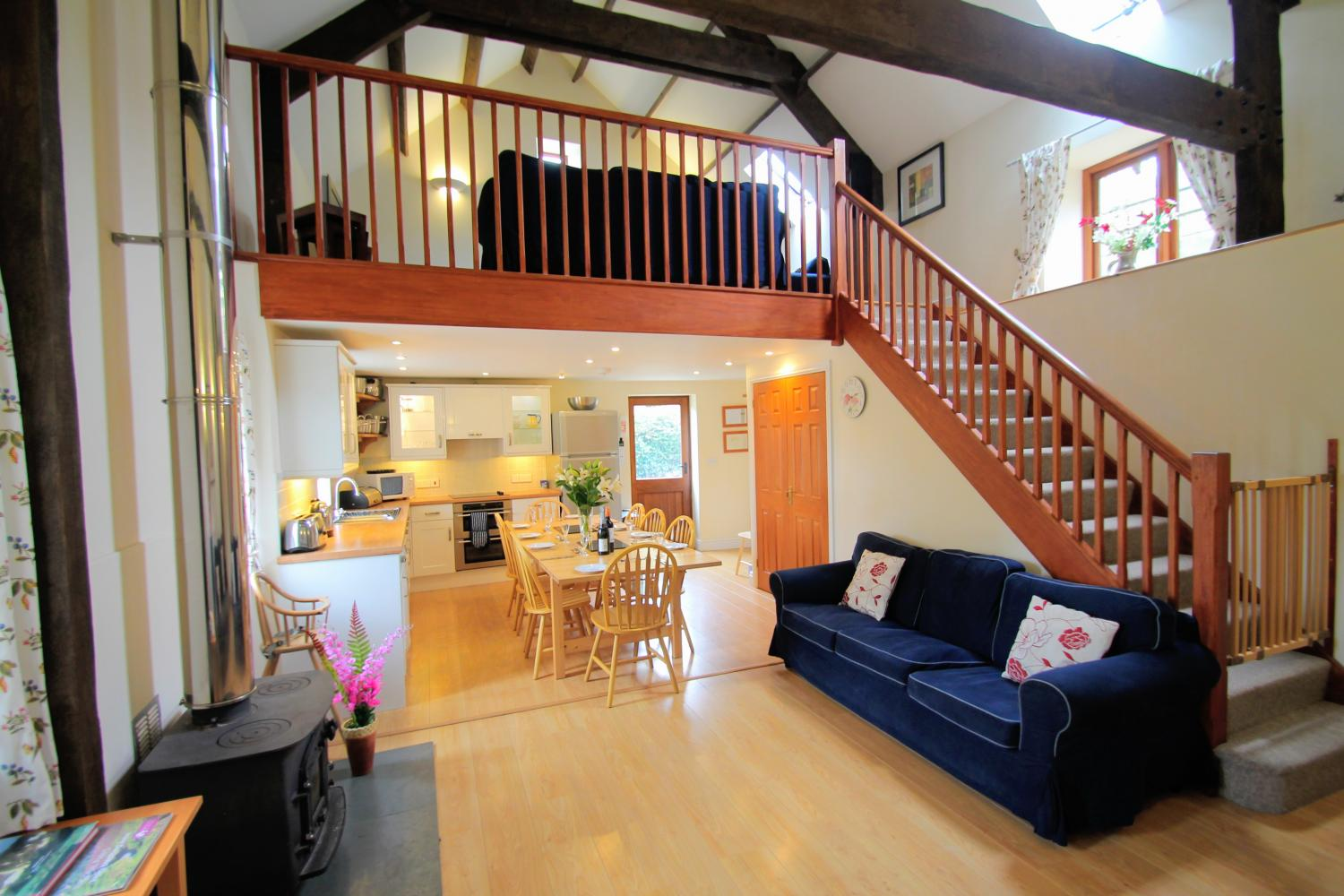open plan sitting living space at yenworthy mill self catering accommodation