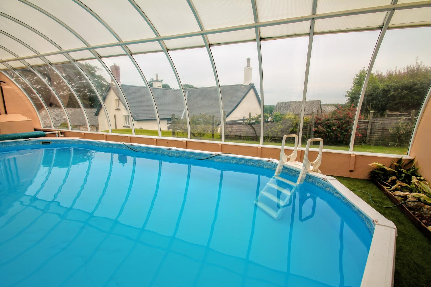 covered outdoor swimming pool upcott farm holiday cottage