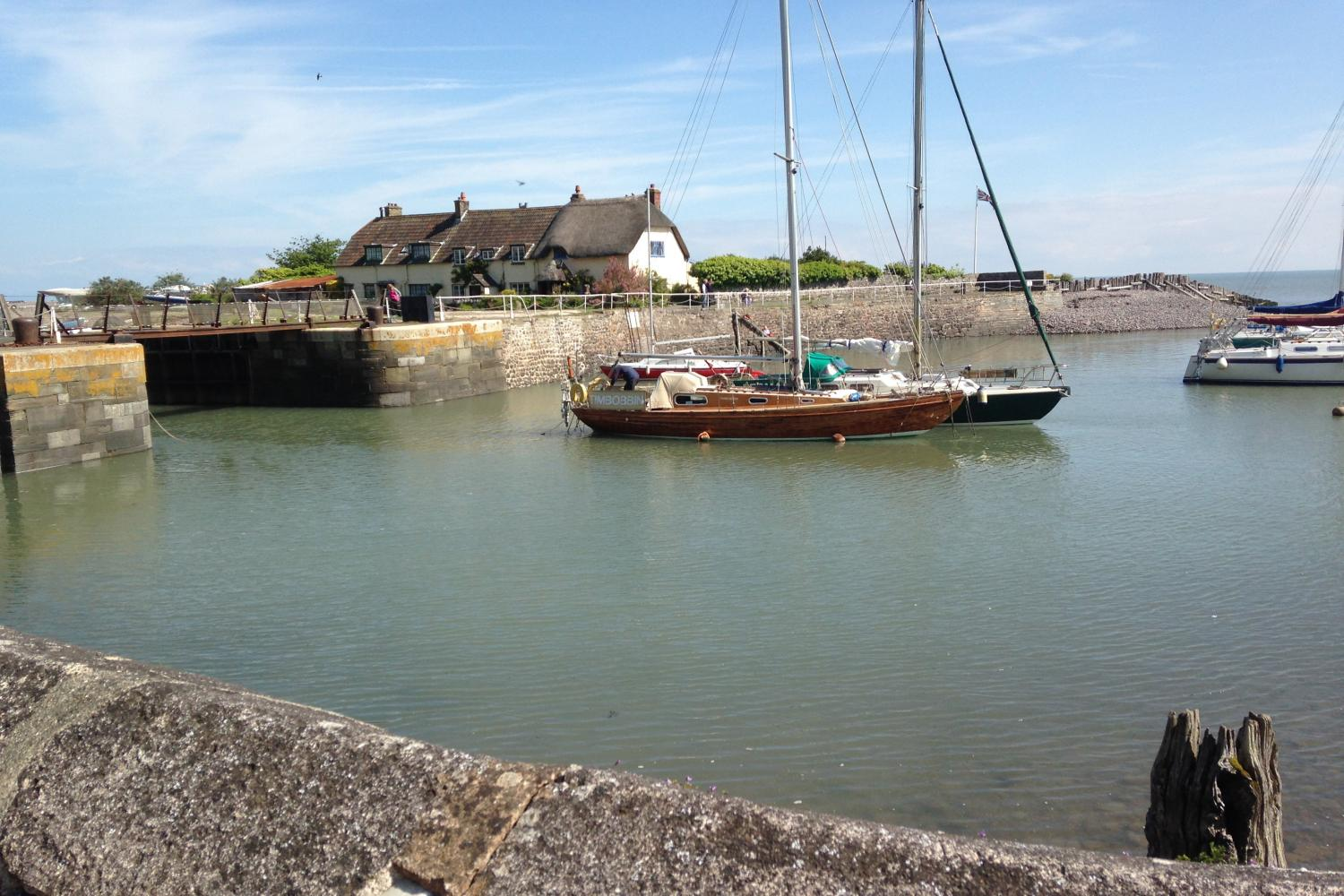 Porlock Weir harbour at high tide