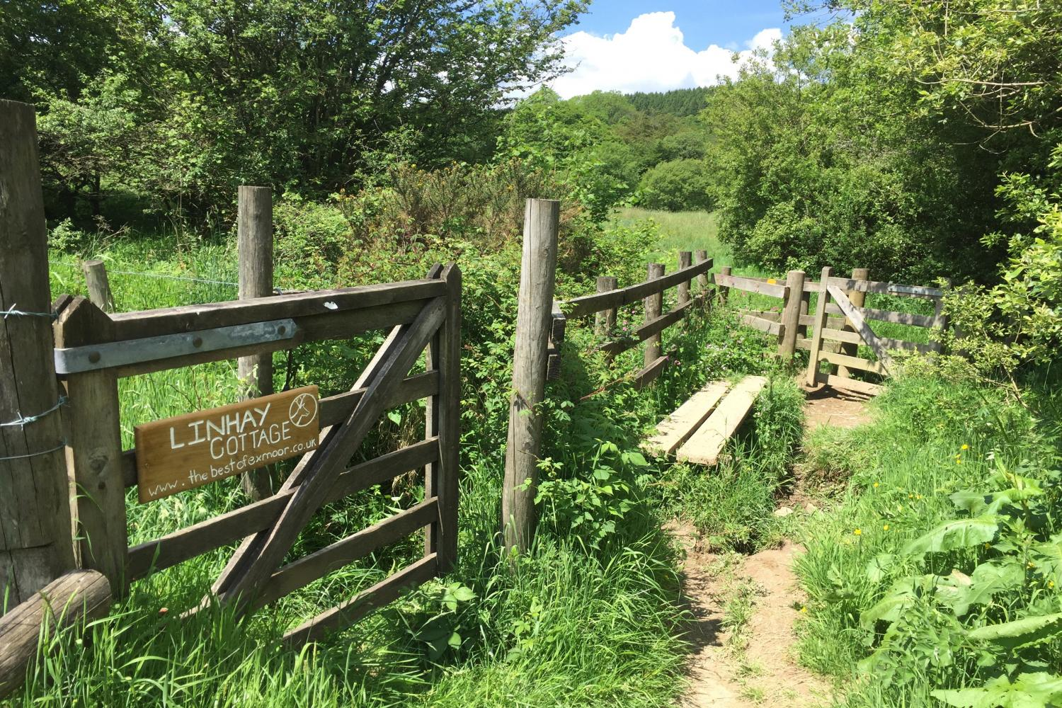Gate at the bottom of the fields, footpath along the Barle to Withypool and Landacre Bridge