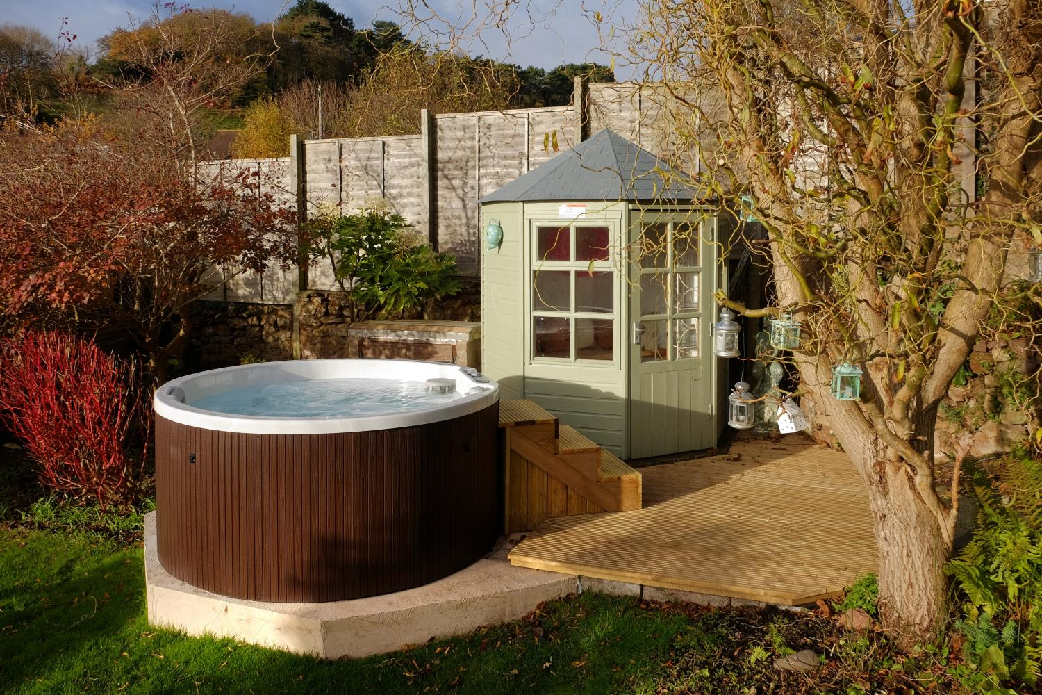 The hot tub is perfect for a soak after exploring Exmoor!