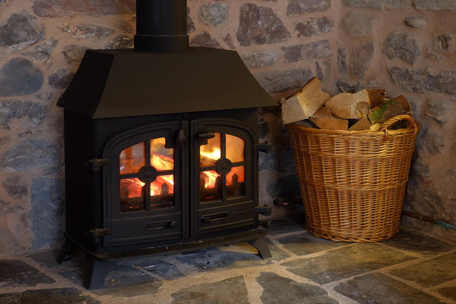 Enjoy the wood burning stove, we provide a basket of logs