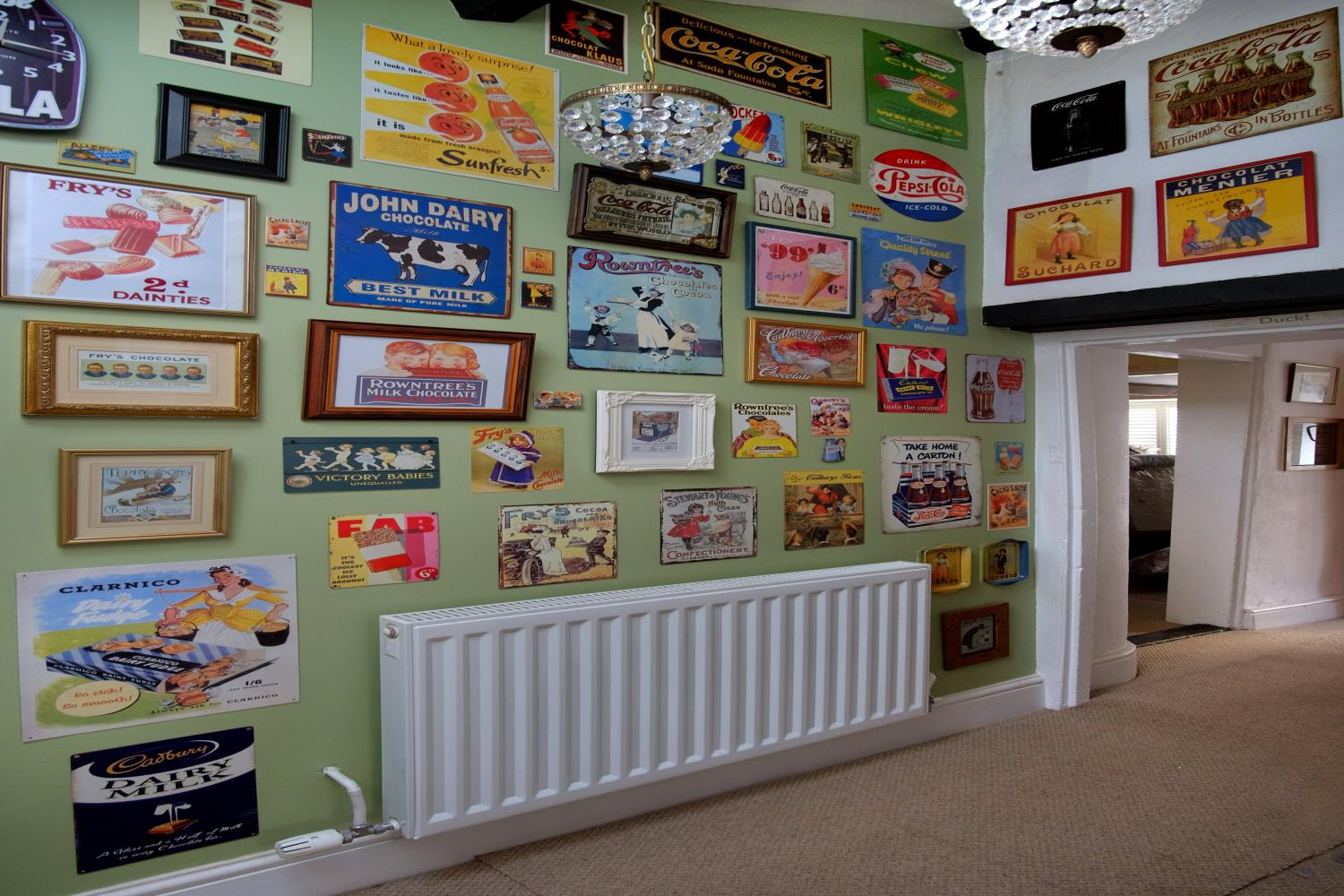 Our 'brand' wall with old confectionery adverts