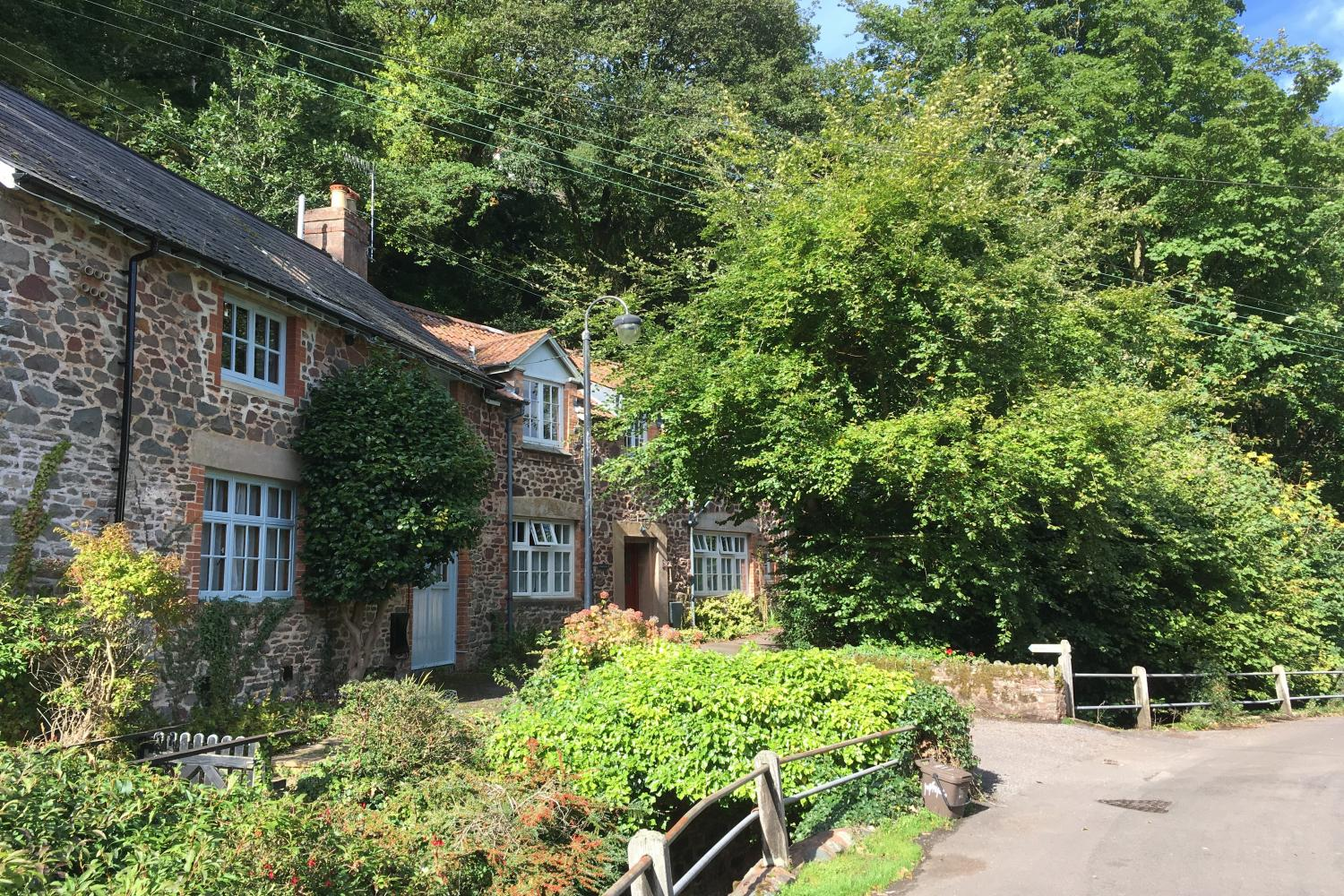 Watermill Cottage (to the right), Hawkcombe