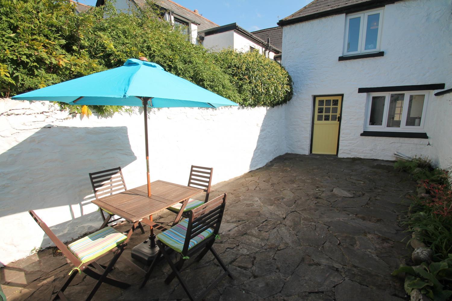 Private, enclosed courtyard at Gazebo Cottage