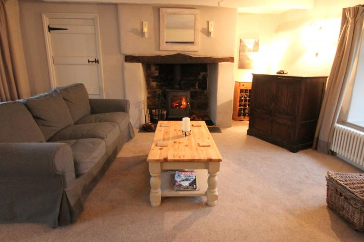 The Mill House sitting room with wood-burner