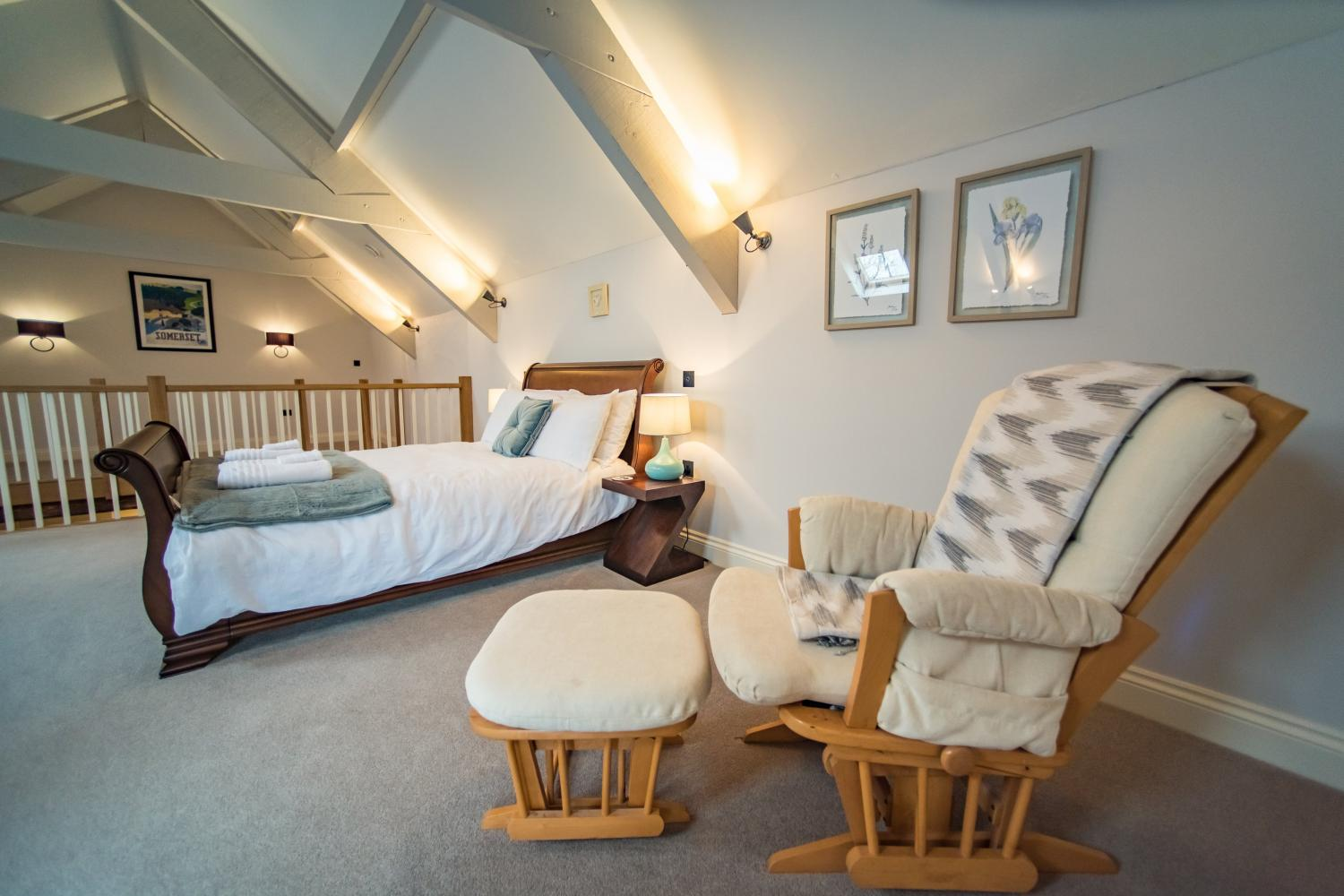 The Cowshed double sleigh bed