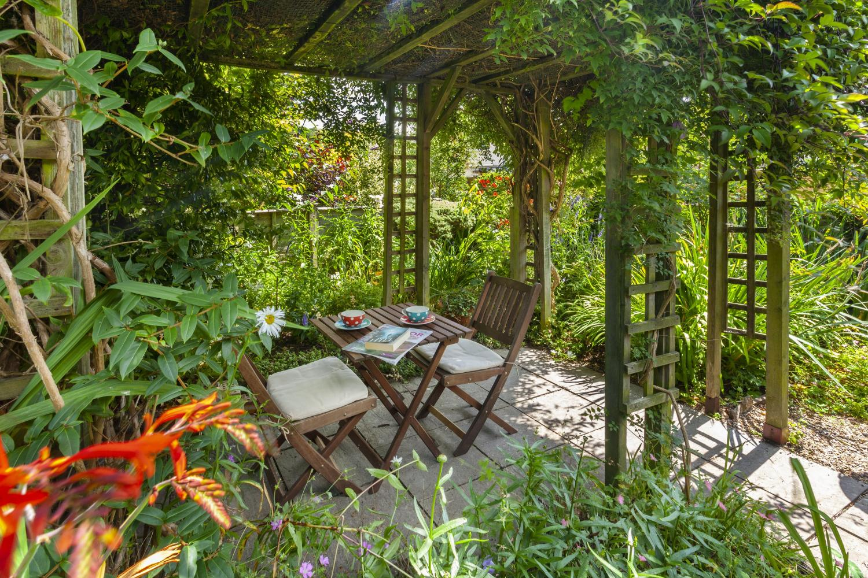 Enclosed cottage garden.