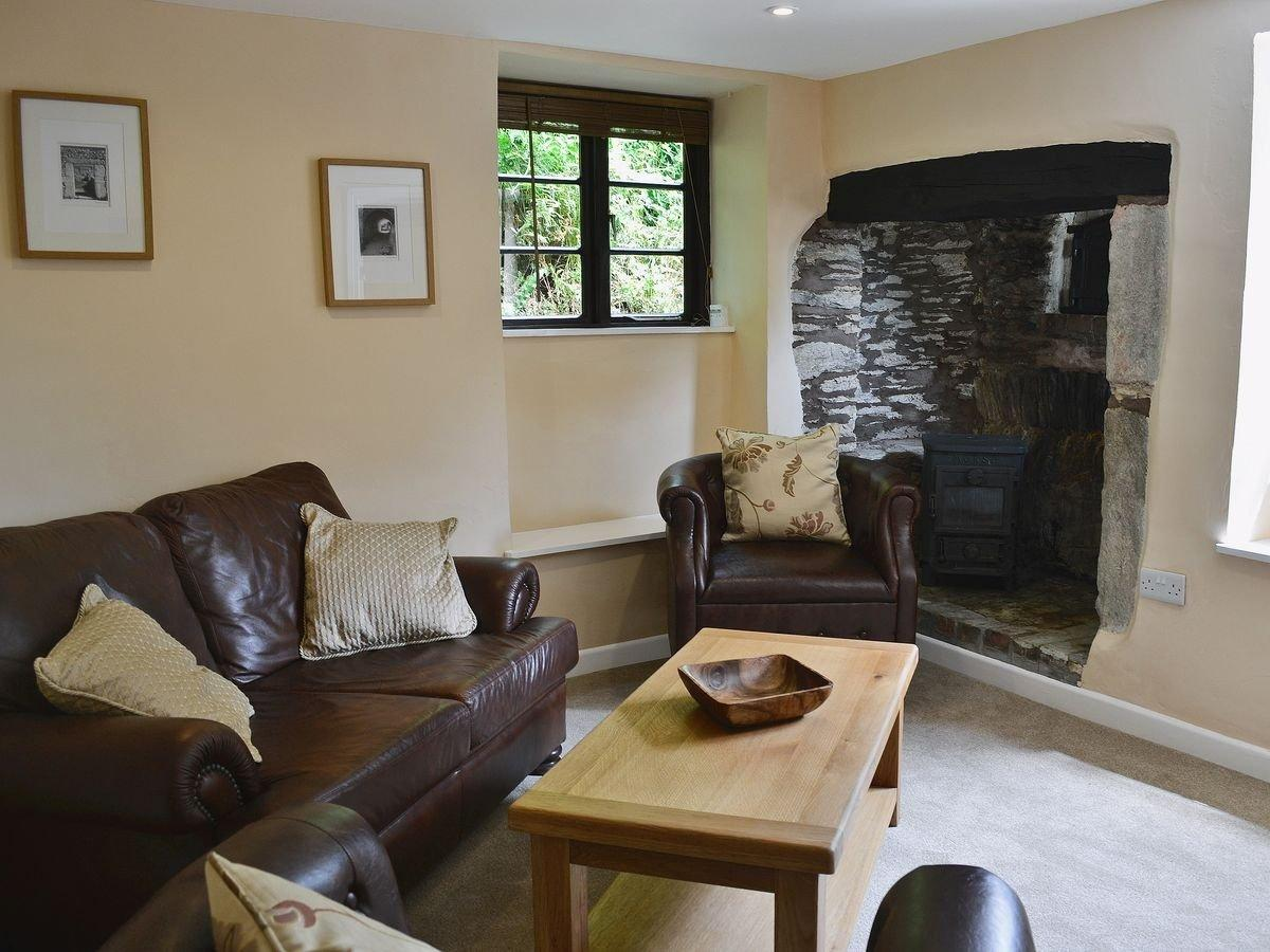 Living room with wood burner